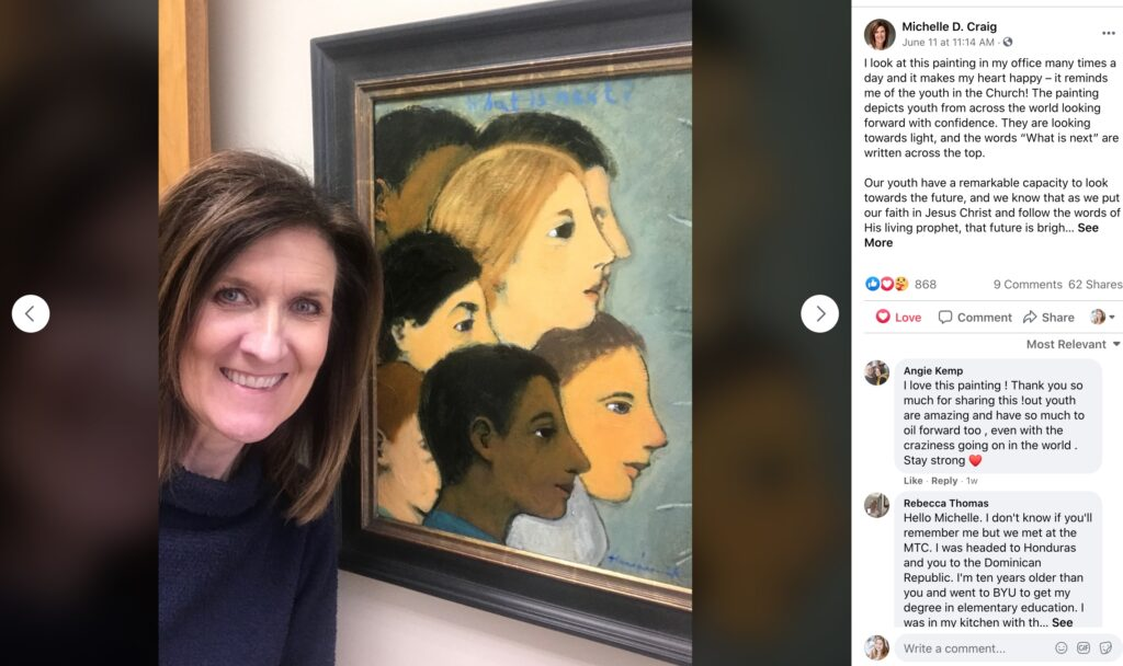 On June 11, Sister Michelle Craig shared a picture on Facebook of a painting that hangs in her office. It depicts youth from across the world looking forward with confidence, she wrote on Facebook.