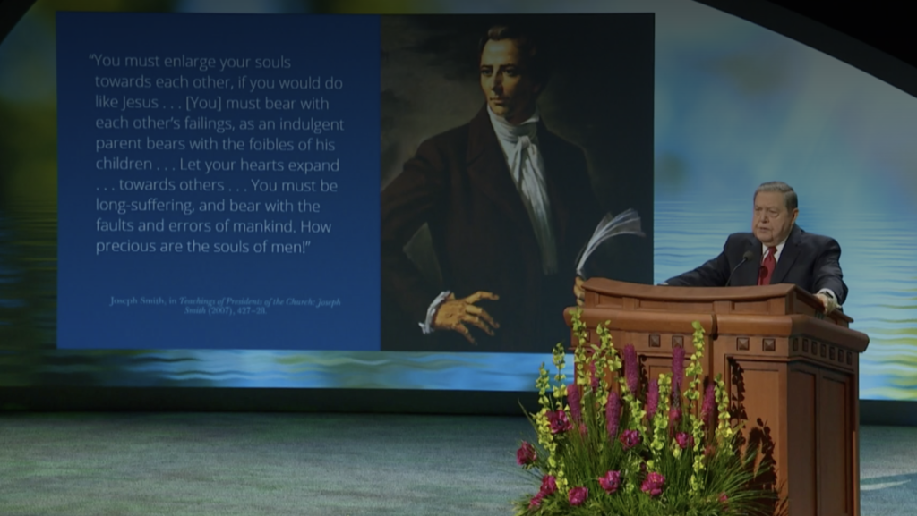 """Elder Jeffrey R. Holland addresses the topic """"The Two Great Commandments,"""" during a talk that was broadcast June 26 as part of the 2020 Mission Leadership Seminar."""