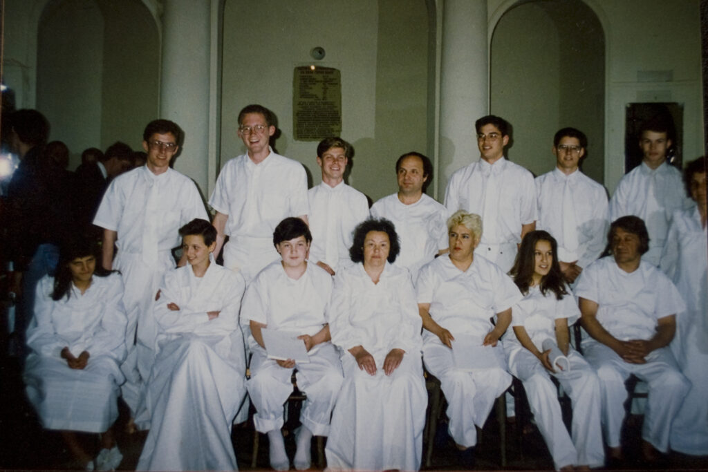The Koleva family, front right, on the day of their baptism in Bulgaria.
