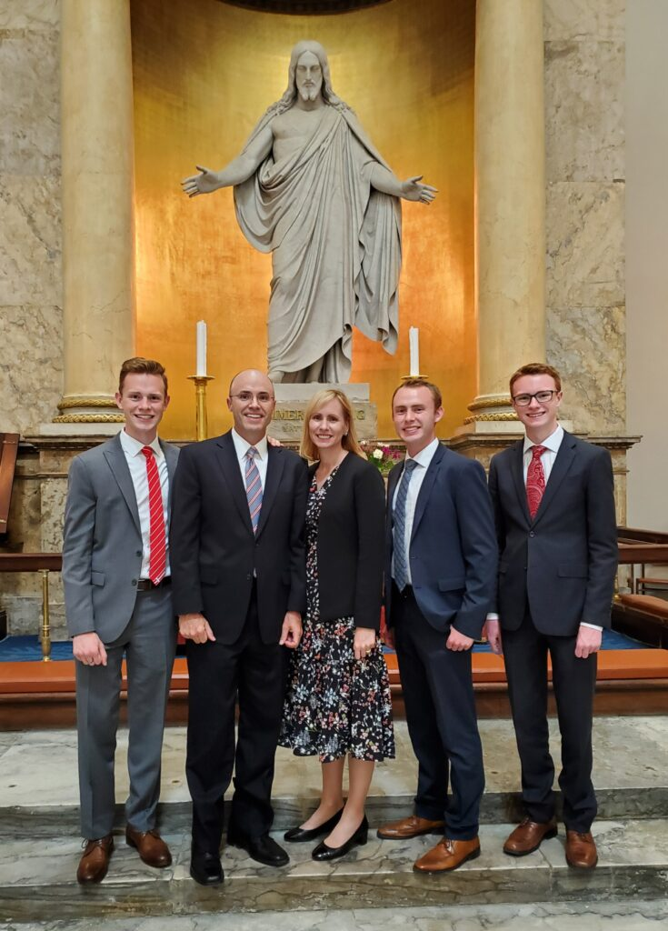 The Wright family during their visit to Denmark in 2019.