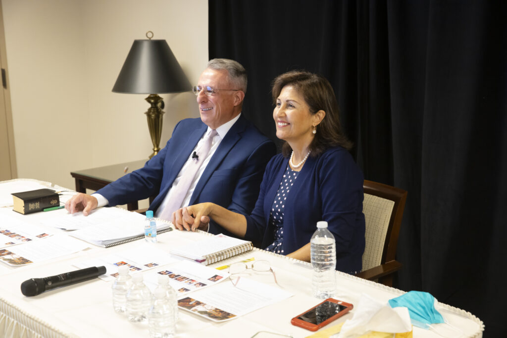 Elder Ulisses Soares and his wife, Sister Rosana Soares, participate in the 2020 Mission Leadership Seminar.