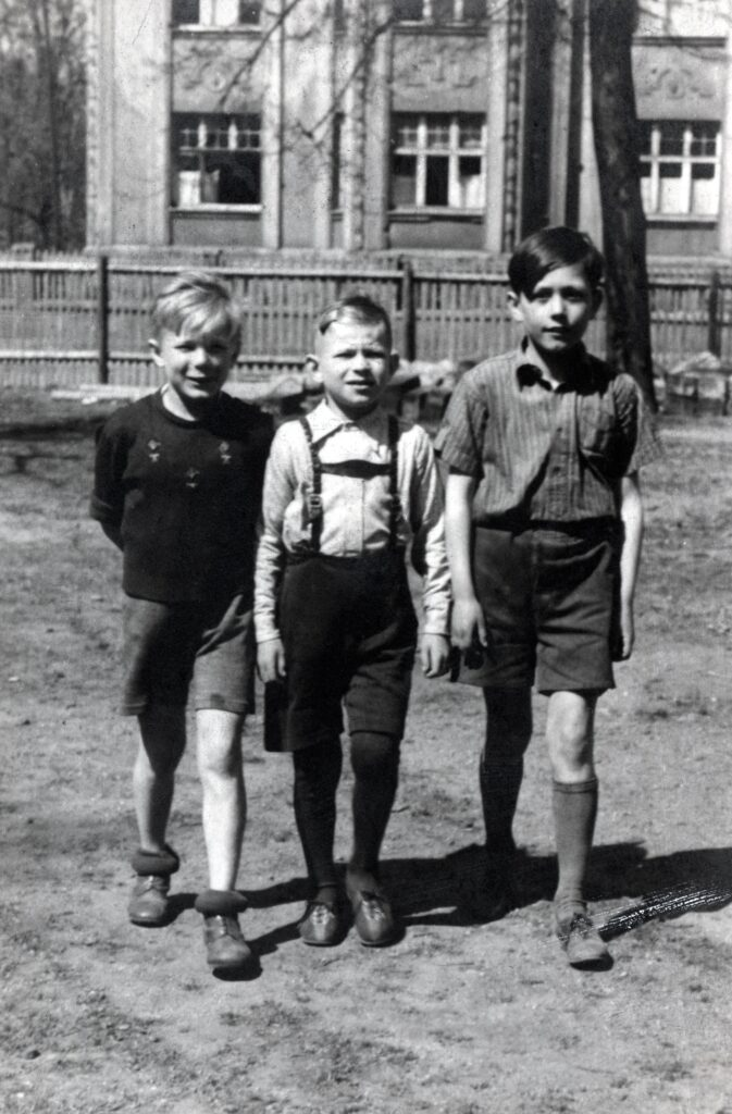 Young Dieter Uchtdorf, right, photographed with friends at school in 1951. Elder Uchtdorf showed the photo during a devotional address to BYU Pathway students broadcast on Tuesday, July 14, 2020.