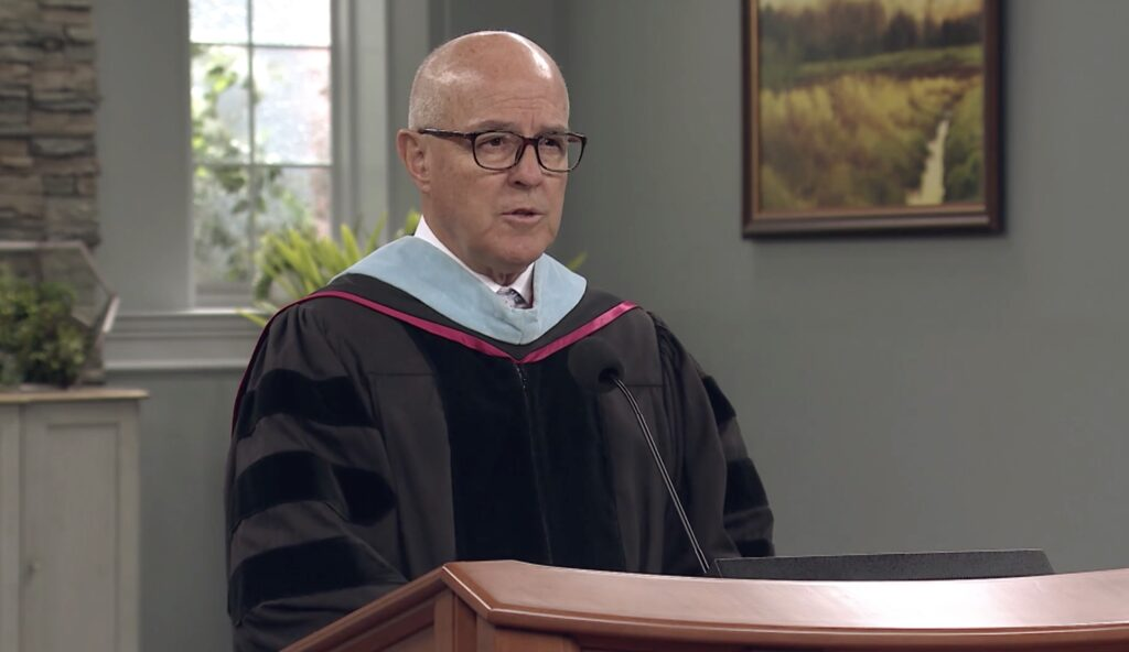 Elder L. Whitney Clayton, senior president of the Quorum of the Seventy, speaks during spring commencement services broadcast to BYU-Idaho graduates on July 22, 2020.