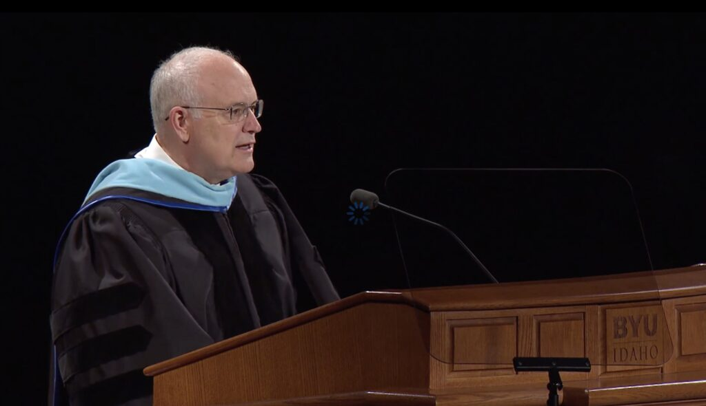 Elder Paul V. Johnson speaks to BYU-Idaho graduates during commencement services on July 22, 2020.
