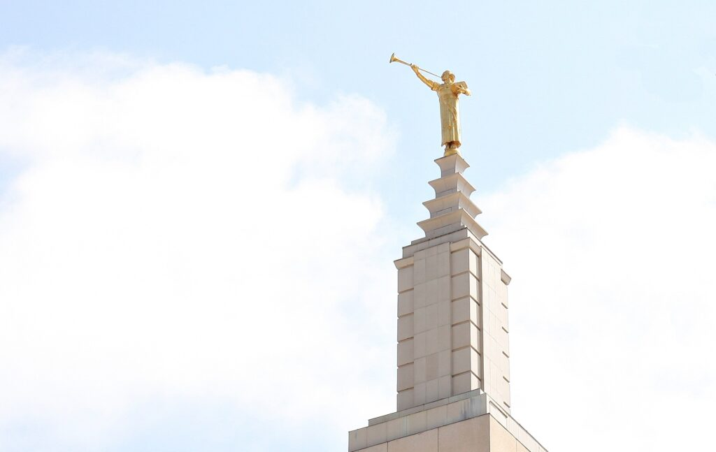 Millard F. Malin's statue of the angel Moroni is seen on the Los Angeles California Temple.