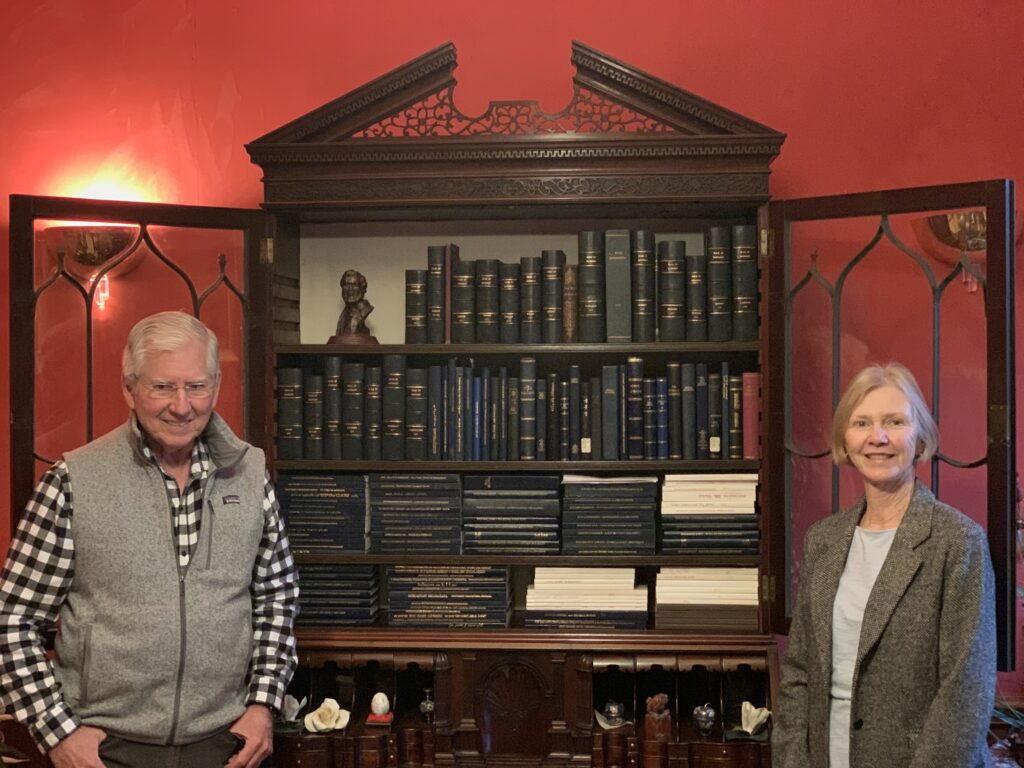 William and Carolyn Ingersoll stand by their vast collection of first edition translations of the Book of Mormon in their Virginia home. The Ingersolls recently donated their collection to Brigham Young University.