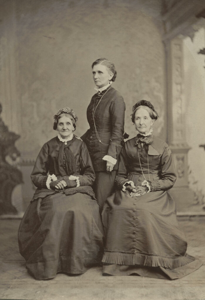 Left to right: Elizabeth Ann Whitney, Emmeline B. Wells, and Eliza R. Snow. Photograph by Charles R. Savage, circa 1876.