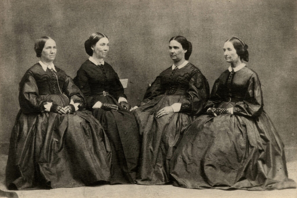 "This portrait, titled ""Leading Women of Zion"" on the frame, was taken circa 1867 by Edward Martin. Left to right: Zina D. H. Young, Bathsheba W. Smith, Emily P. Young, and Eliza R. Snow."