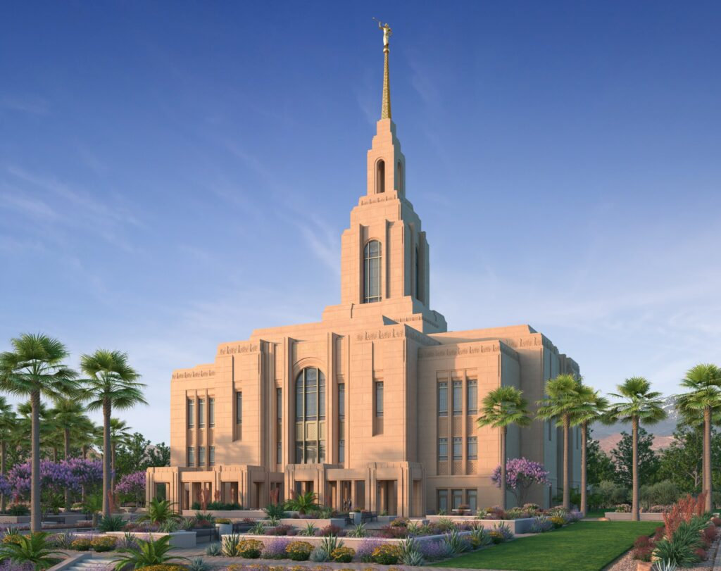 A rendering of the Red Cliffs Utah Temple in Washington County, Utah.