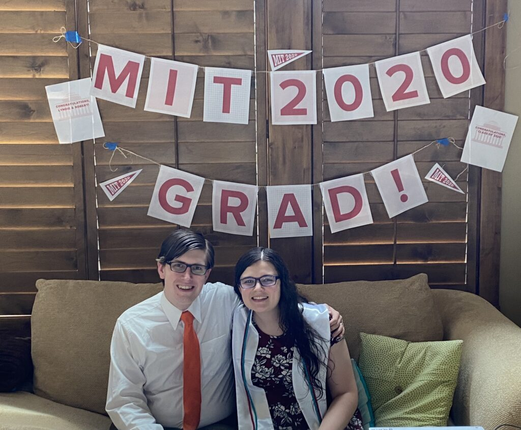 Lyndie Zollinger and her husband, Robert, celebrated a virtual graduation from MIT together. They both graduated in May 2020.