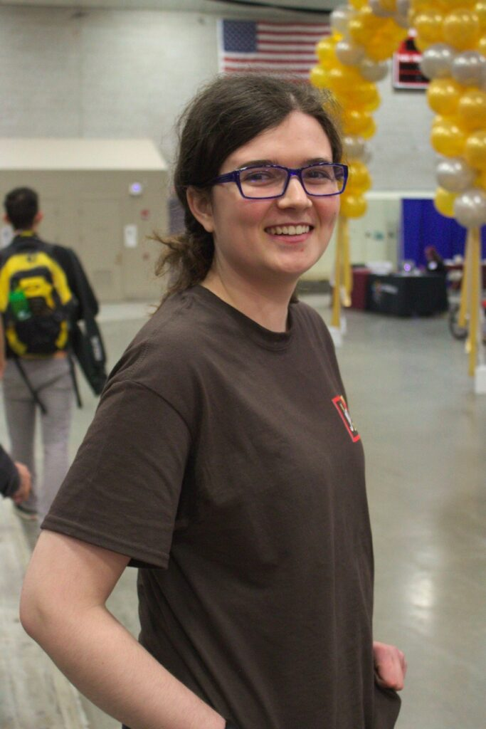 "Lyndie Zollinger competes in the MIT 2.007 ""Calculated Imagination"" competition in May 2018. She won an award for her hard work and commitment to learning in the class."