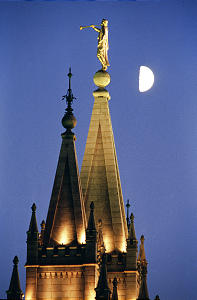 The Salt Lake Temple of The Church of Jesus Christ of Latter Day Saints with the moon in the background. This photo was probably taken in the 1990's. photo by Ravell Call, Deseret News