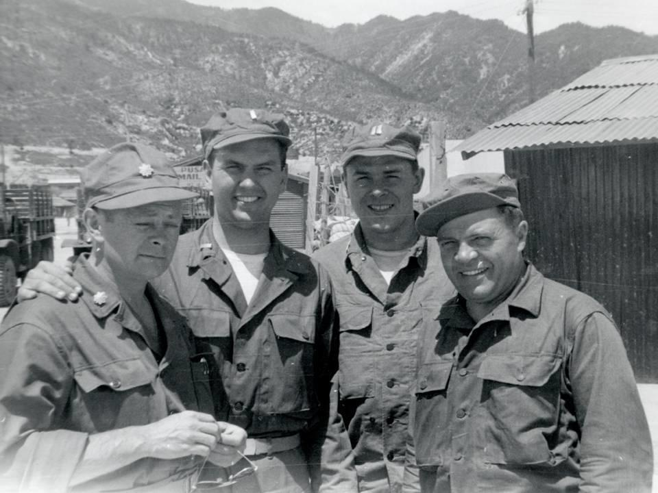 As a lieutenant, Russell M. Nelson, second from left, visited every mobile army surgical hospital in Korea.