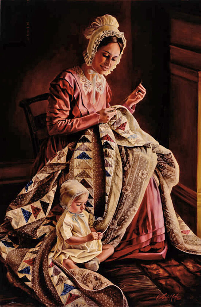 """""""Labor of Love,"""" by Lynde Mott. Young Jane Snyder Richards of Nauvoo mends a treasured quilt as her daughter, Wealthy, sits nearby."""