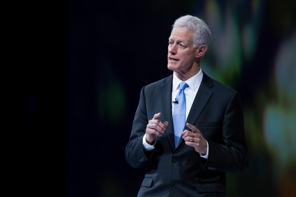 BYU President Kevin J Worthen addresses BYU faculty and staff during the university's annual University Conference on Aug. 24, 2020.