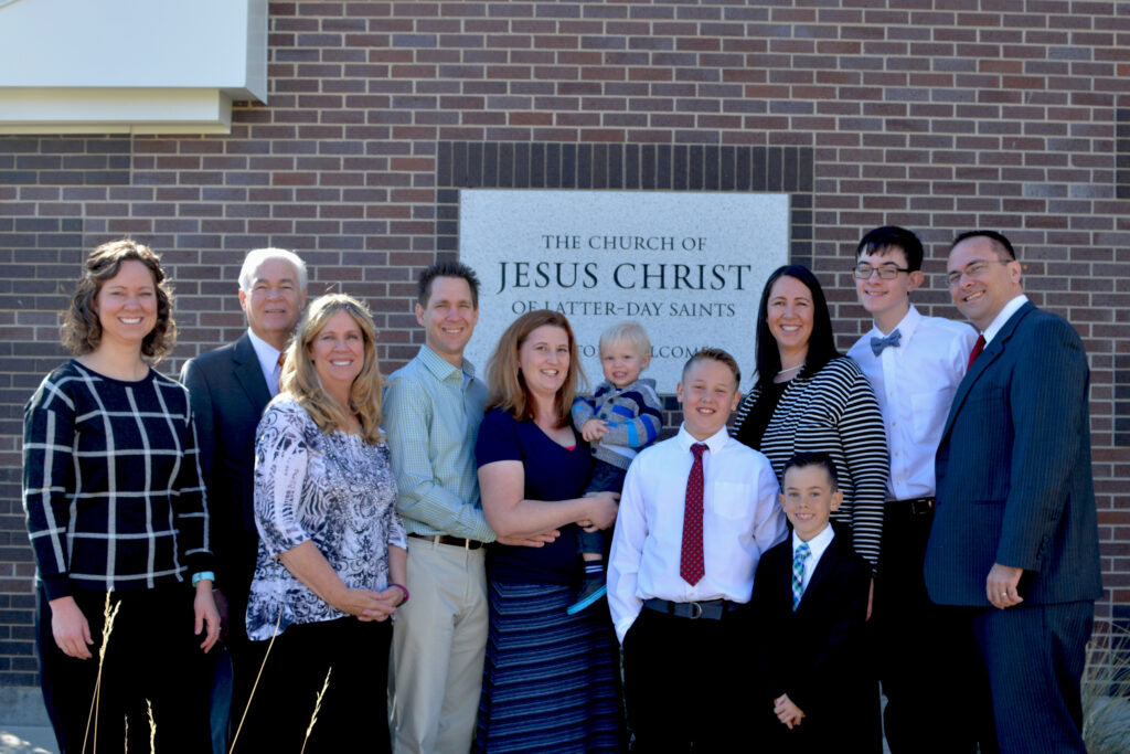 Brittany Beattie with family at one of her nephew's baptisms.