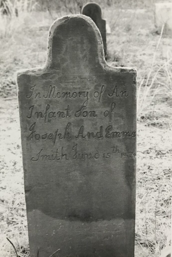 The gravestone of Emma and Joseph Smith, Jr.'s first son, who died several hours after birth on June 15, 1828, in Old Harmony, Pennsylvania. They named him Alvin, after Joseph's older brother who had passed away in 1823.