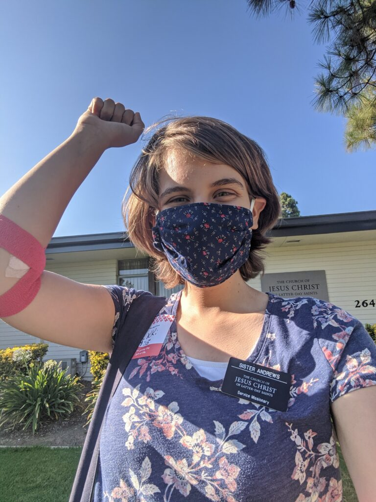 Sister Bekki Andrews, a Church service missionary, takes a selfie in front of a Church meetinghouse in La Verne, California, after donating blood on Aug. 5, 2020.