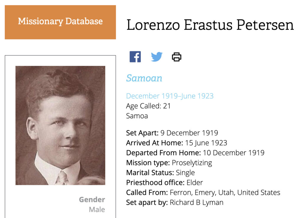 Screenshot of Lorenzo Erastus Petersen, a missionary in Samoa from 1919 to 1923, from Church History's Missionary Database.