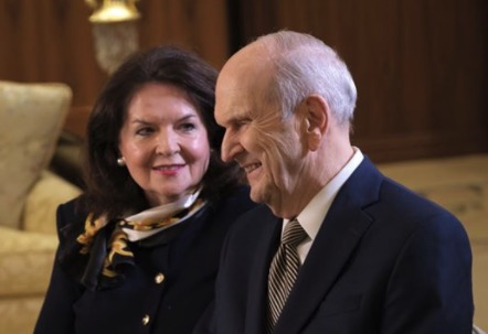 President Russell M. Nelson and his wife, Sister Wendy Nelson, smile during an interview.