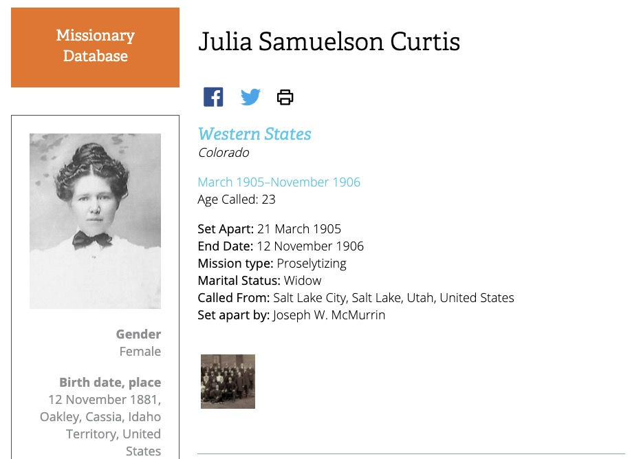 Screenshot of Julia Samuelson Curtis' profile in the previous Missionary Database.