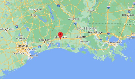 Lake Charles, Louisiana, as shown on the map, is located in the southwest corner of Louisiana near the Gulf Coast. Beaumont, Texas, about 60 miles west, was another area hit by Hurricane Laura on Aug. 27, 2020.