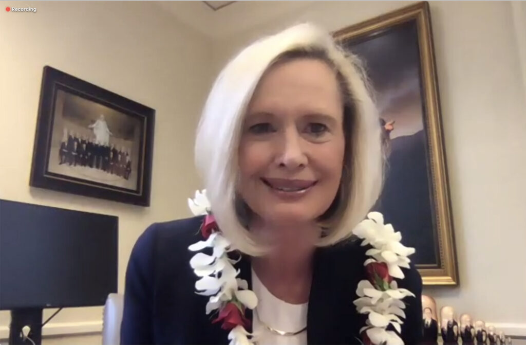 Young Women General President Bonnie H. Cordon speaks to the faculty and staff of BYU–Hawaii in a live Zoom webinar as part of the university's annual Ohana Message on Thursday, Aug. 27, 2020.