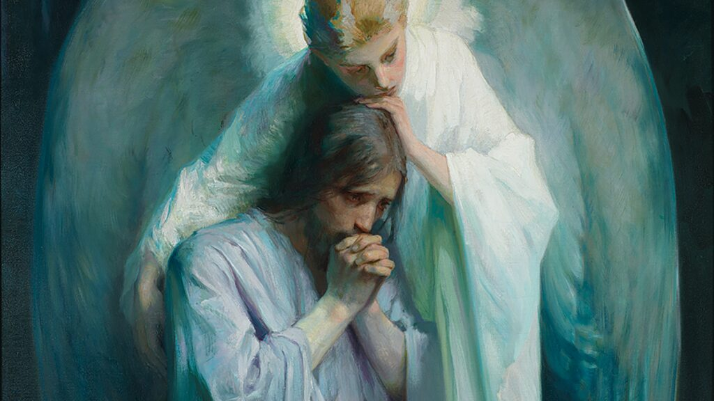 """A close-up of the BYU original painting, """"Agony in the Garden,"""" by Frans Schwartz, as shown in a presentation slide from Elder Dieter F. Uchtdorf's Aug. 13, 2020, virtual missionary devotional address."""