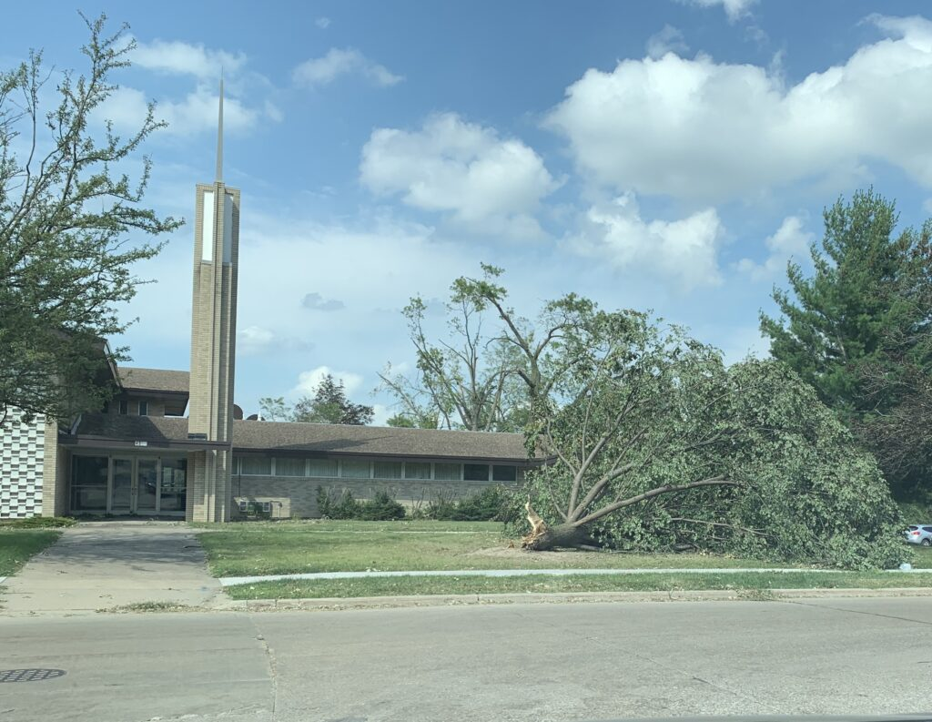 The Latter-day Saint meetinghouse in Cedar Rapids, Iowa, was one of the many structures that experienced damaging wrath of Aug. 10 storm.