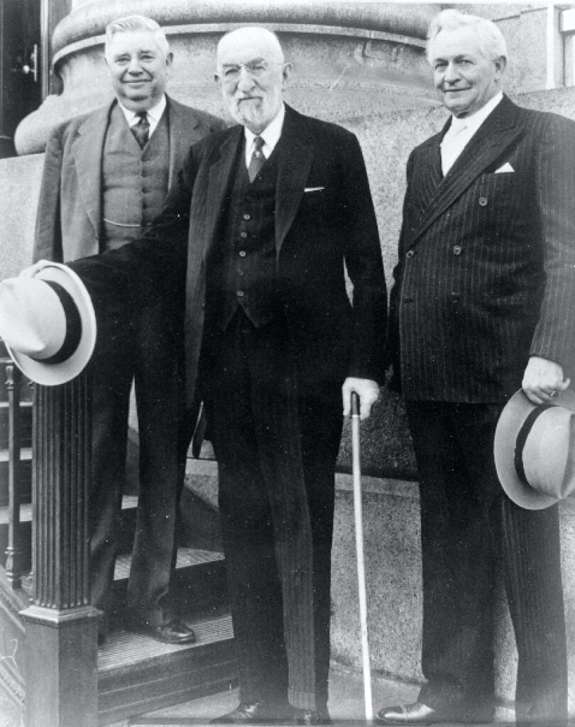 The First Presidency of the Church in April 1942. Left, President J. Ruben Clark, Church President Heber J. Grant and President David O. McKay.