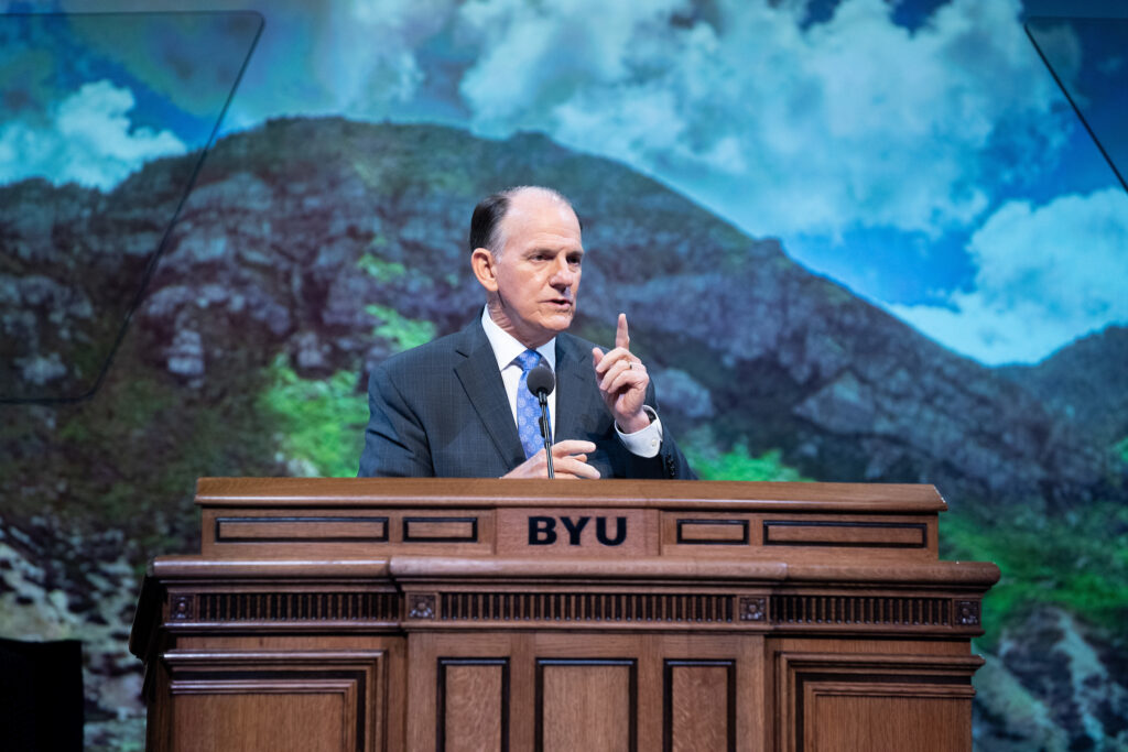 Elder James B. Martino speaks during a BYU campus devotional in Provo, Utah, on Tuesday, Sept. 15, 2020.