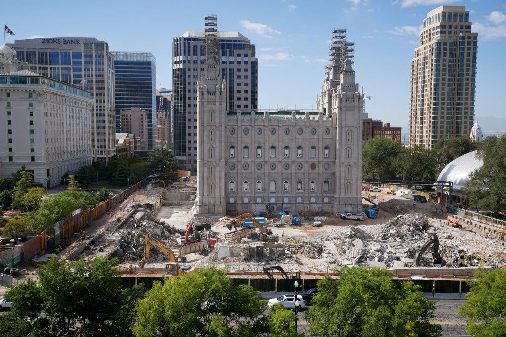Piles of steel, copper, aluminum, stone and concrete are loaded and trucked to recycling plants from the Salt Lake Temple renovation project. The meticulous sorting of the repurposed refuse is more time consuming but considered the right thing to do by the Church and its contractors, July 2020.