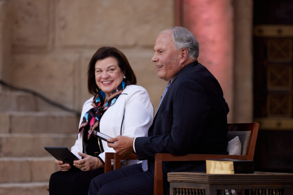 Elder Ronald A. Rasband and his wife, Sister Melanie Rasband, answer questions from young adults during a Face to Face event in Goshen, Utah, on Sunday, Sept. 13, 2020.