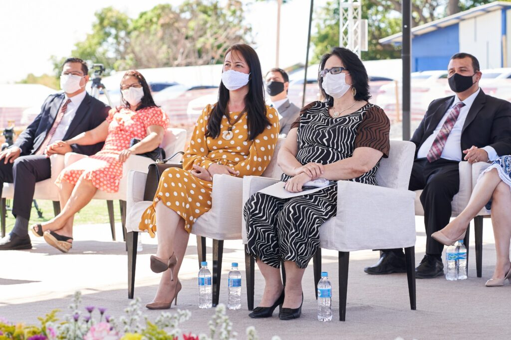 A limited number of guests attend the Brasília Brazil Temple groundbreaking ceremony on Saturday, Sept. 26, 2020. Damares Alves, Minister of Women, Family and Human Rights in Brazil (right), was present at the groundbreaking ceremony.
