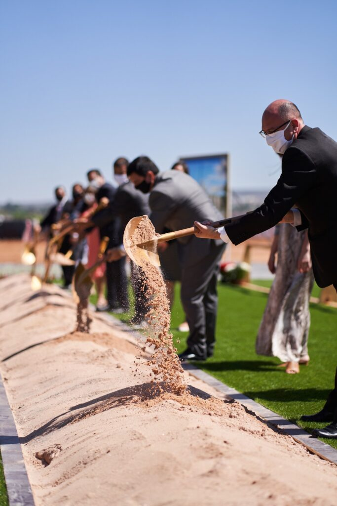 Local Church leaders in Brasília, Brazil, participate in the groundbreaking of the Brasília Brazil Temple on Saturday, Sept. 26, 2020. Attendance at the event was limited because of current COVID-19 social guidelines.