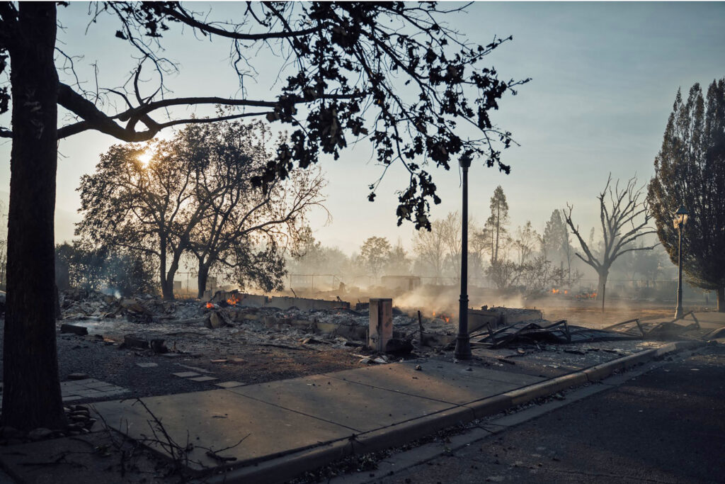 This photo taken by Talent, Ore., resident Kevin Jantzer shows the destruction of his hometown in the aftermath of wildfires that ravaged the central Oregon town near Medford, Wednesday, Sept. 9, 2020. (Kevin Jantzer via AP)