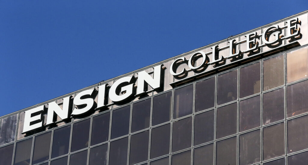 New signage indicates that LDS Business College is now Ensign College in Salt Lake City on Tuesday, Sept. 1, 2020.