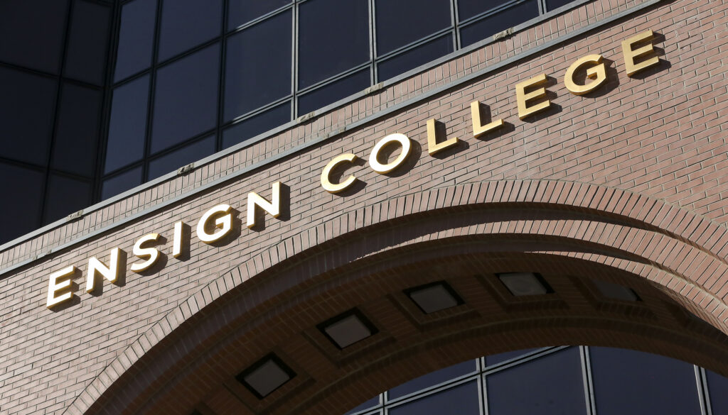 New signage on the building indicates that LDS Business College is now Ensign College, in Salt Lake City on Tuesday, Sept. 1, 2020.