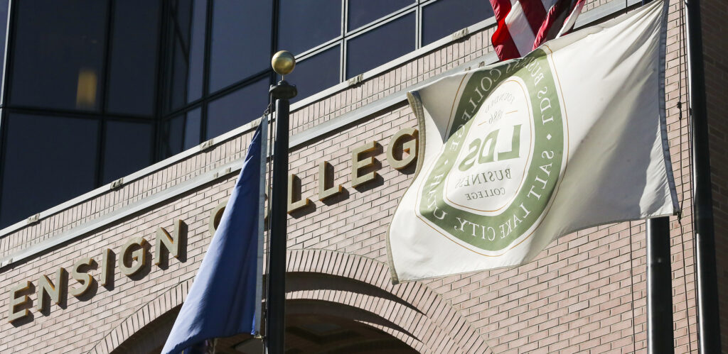 New signage indicates that LDS Business College is now Ensign College, in Salt Lake City on Tuesday, Sept. 1, 2020.