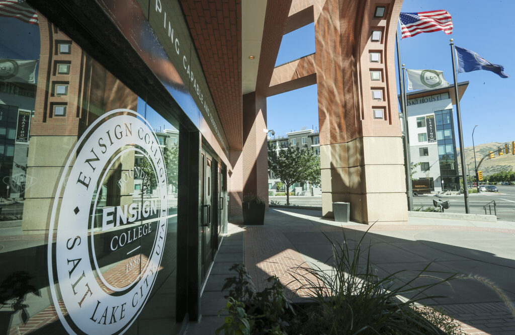 New signage on the campus building indicates that LDS Business College is now Ensign College in Salt Lake City on Tuesday, Sept. 1, 2020.