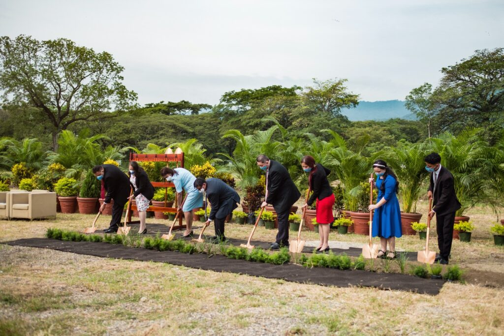 A group of Latter-day Saints from San Pedro Sula, Honduras, participate in the groundbreaking for the San Pedro Sula Honduras Temple on Saturday, Sept. 6, 2020.