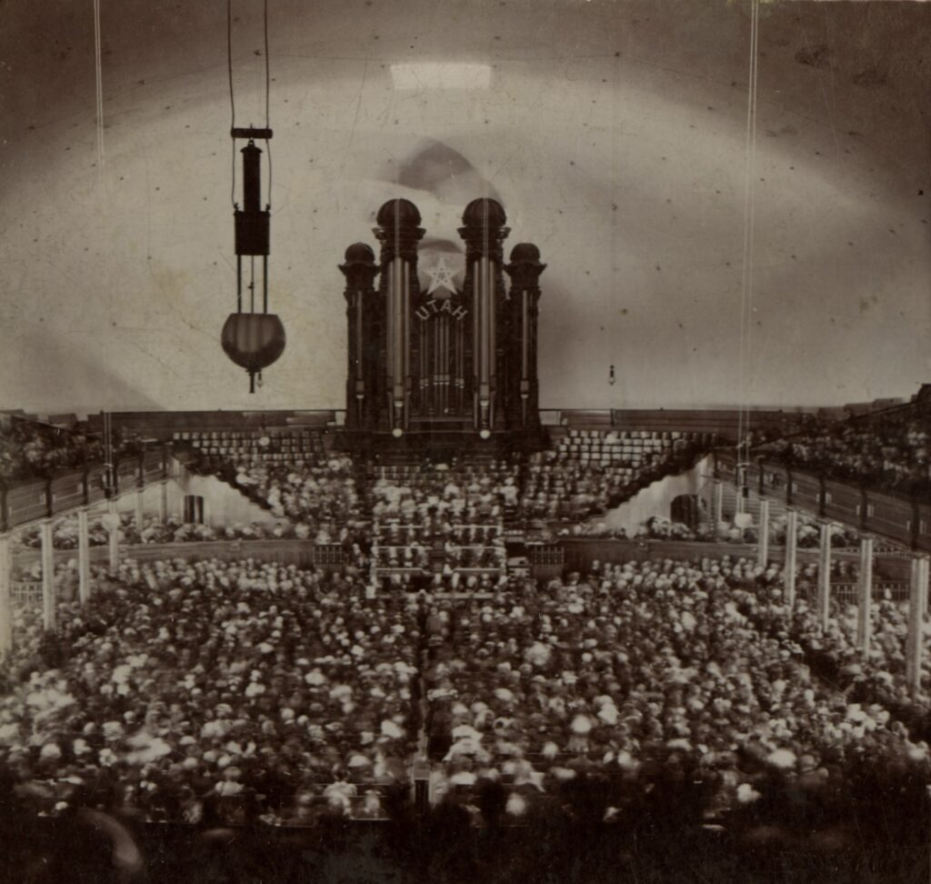 Interior of the Salt Lake Tabernacle for conference October 1897.