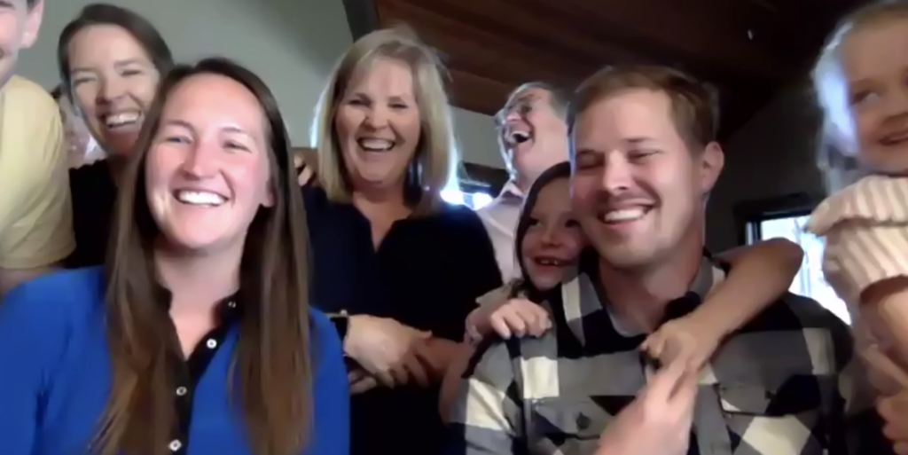Members of President Russell M. Nelson's family participate in a virtual birthday party — via video conferencing — three days before his 96th birthday on Sunday Sept. 6, 2020. President Nelson turned 96 on Sept. 9, 2020.