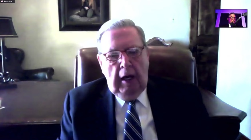"""Elder Jeffrey R. Holland speaks with Dr. George Wood, former general superintendent of the Assemblies of God, in an episode of the """"Building Bridges with Greg Johnson"""" podcast, which aired on Sept. 11, 2020."""