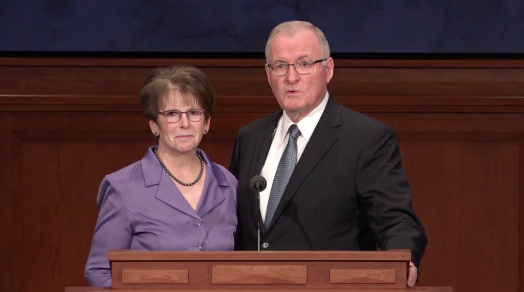 Elder Randy D. Funk and his wife, Sister Andrea C. Funk, speak during a BYU–Idaho devotional that was broadcast on Sept. 22, 2020.