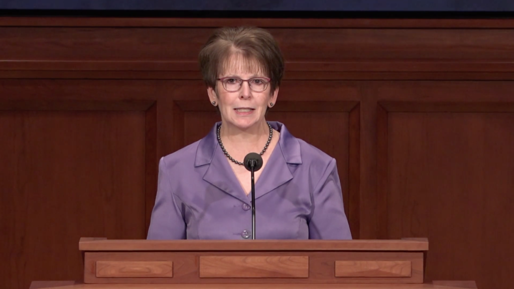 Sister Andrea C. Funk speaks during a BYU–Idaho devotional that was broadcast on Sept. 22, 2020.