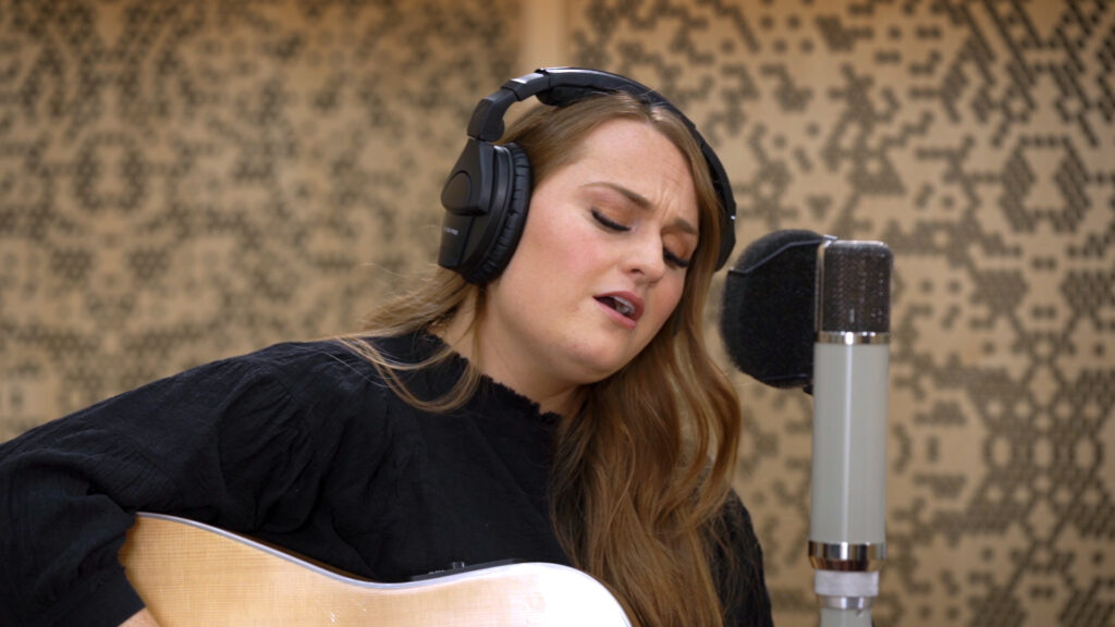 Musician Emily Bea performs while filming the first episode of the new Saints Studio Channel series produced by The Church of Jesus Christ of Latter-day Saints.