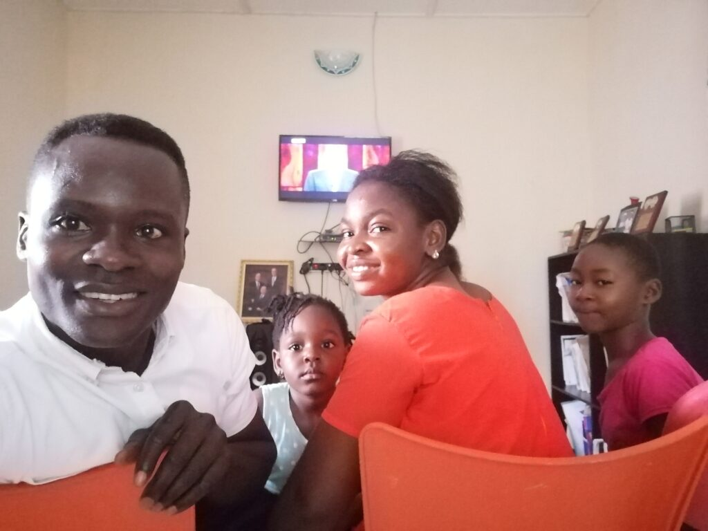 The Okpokam family — Okpokam, Anor-Osowo, Christiana and Anor Ikot — of the Eneobong Ward, Calabar Nigeria North Stake, watch the 190th Semiannual General Conference of The Church of Jesus Christ of Latter-day Saints on Saturday, Oct. 3, 2020.