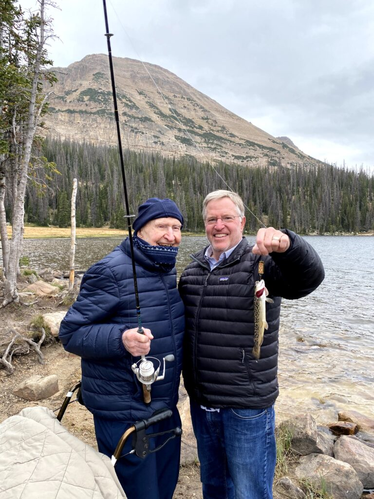 "Left, Gail Halvorsen, known by many as the ""Berlin Candy Bomber,"" on a recent fishing expedition with his son, Bob Halvorsen."