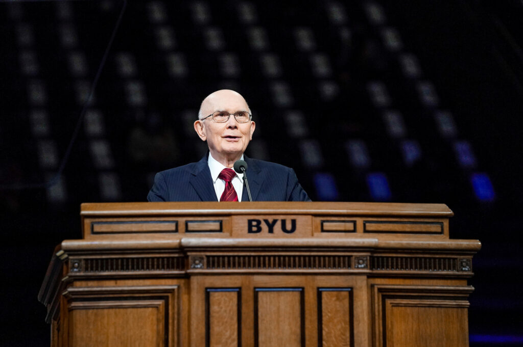 President Dallin H. Oaks, first counselor in the First Presidency, addresses a group of social distancing students gathered in the Marriott Center on BYU campus on Oct. 27, 2020, for the first small gathering since the outbreak of COVID-19. President Oaks echoed Church guidance on eschewing racism and prejudice.